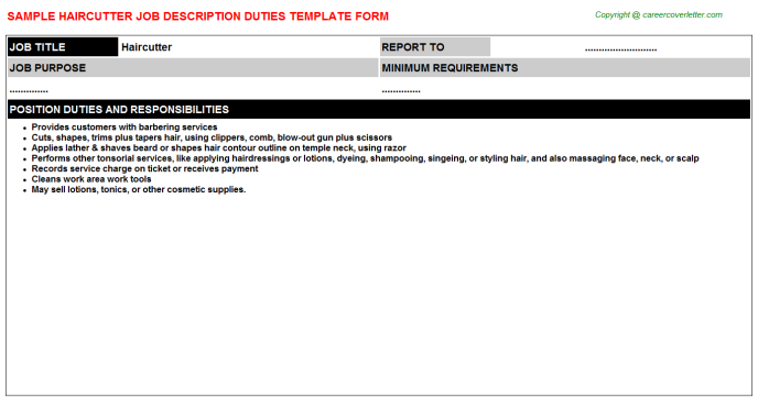 Haircutter Job Description Template