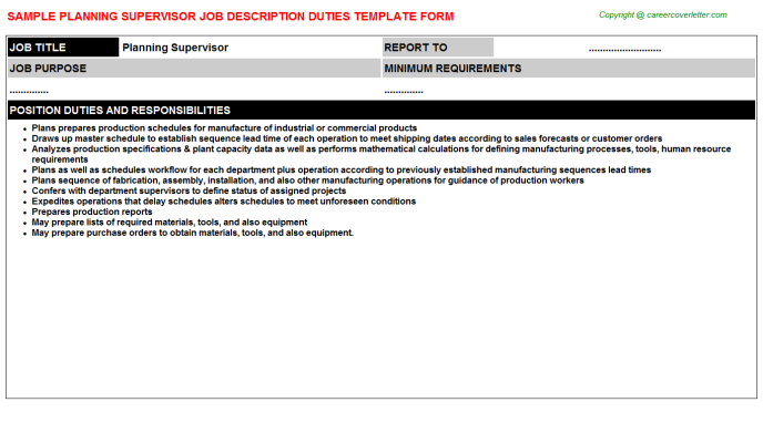 Planning Supervisor Job Description Template