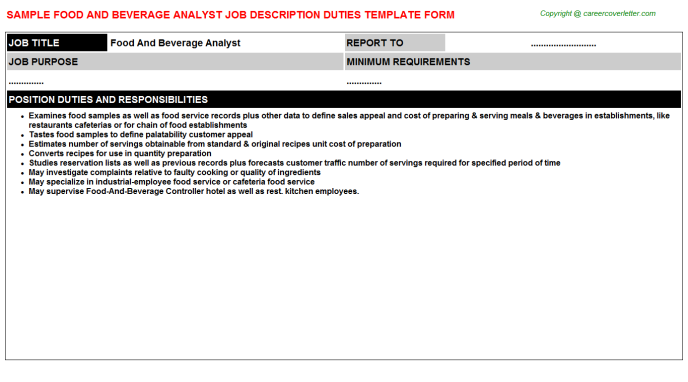 food and beverage analyst job description template