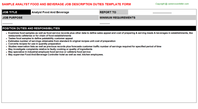 analyst food and beverage job description template