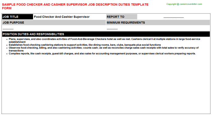 food checker and cashier supervisor job description template