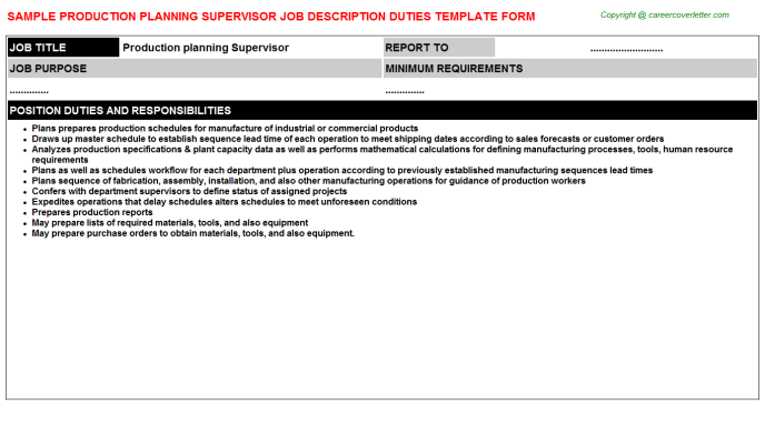 production planning supervisor job description template
