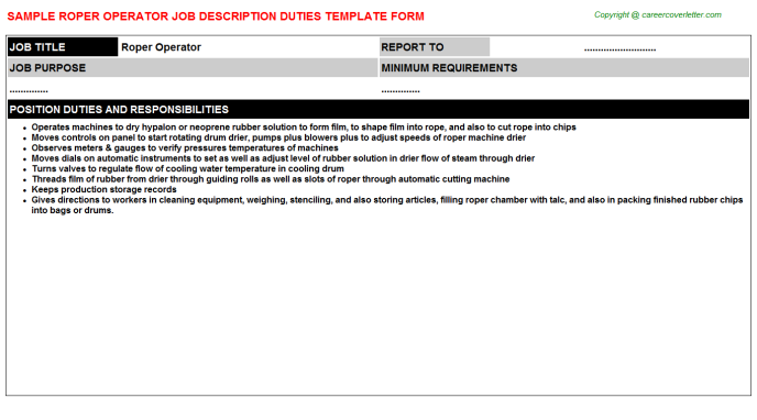 roper operator job description template