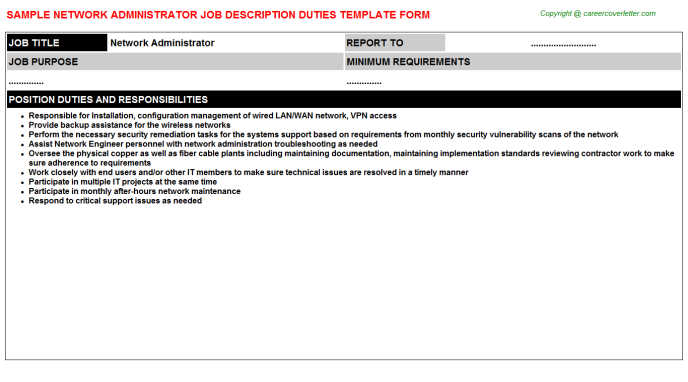 network administrator job description template