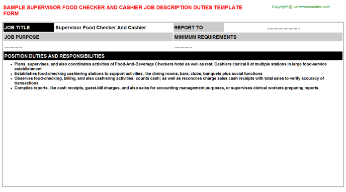 supervisor food checker and cashier job description template