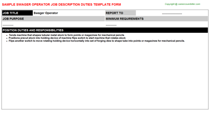 Swager Operator Job Description Template