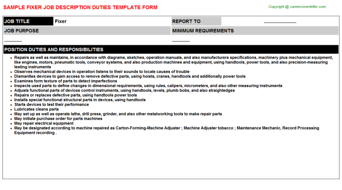 Fixer Job Description Template