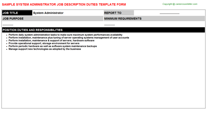 System Administrator Job Description Template