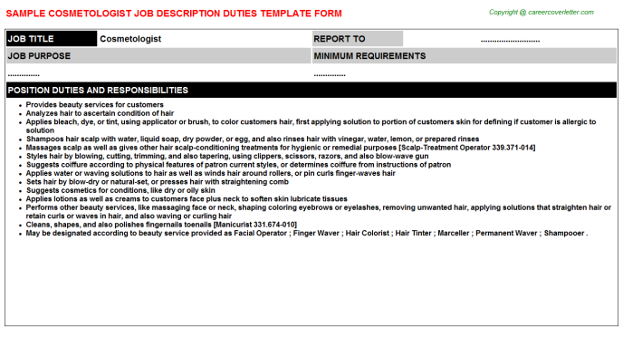 Cosmetologist Job Description Template