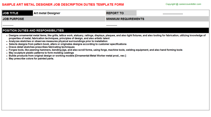 Art Metal Designer Job Description Template