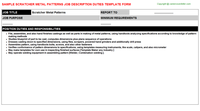 scratcher metal patterns job description template