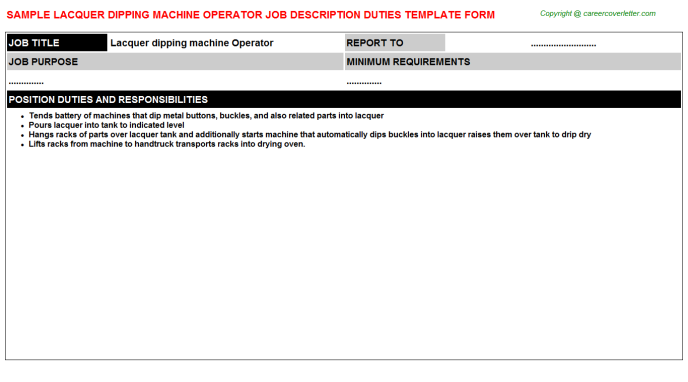 lacquer dipping machine operator job description template