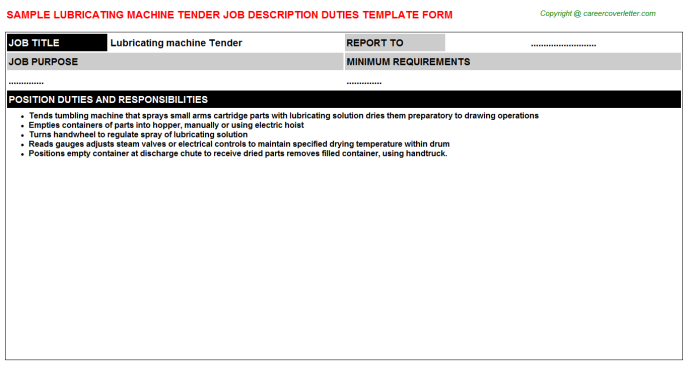 lubricating machine tender job description template