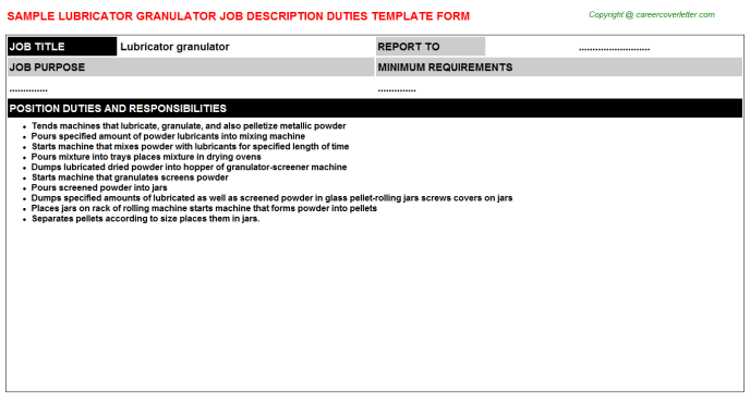 lubricator granulator job description template
