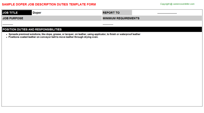 Doper Job Description Template