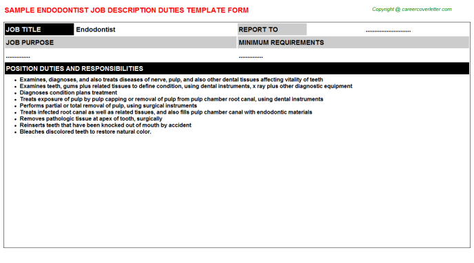 Endodontist Job Description Template