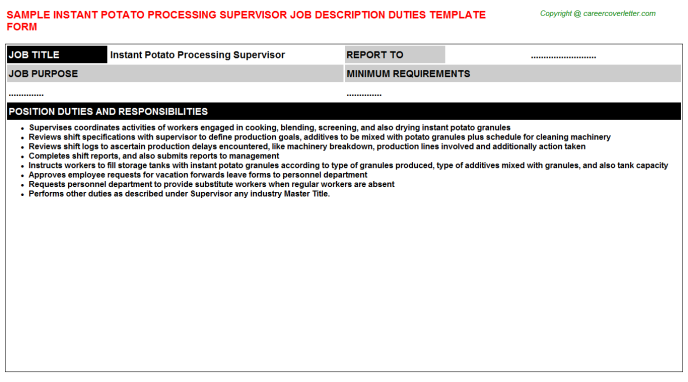 instant potato processing supervisor job description template