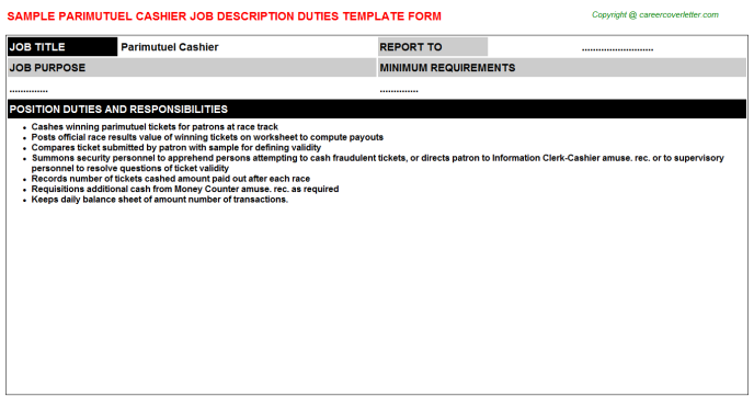 parimutuel cashier job description template