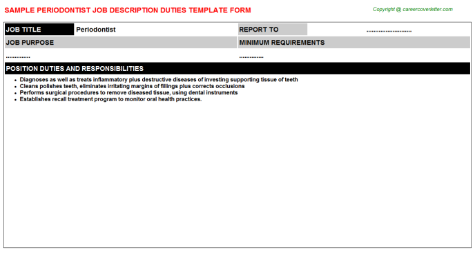 Periodontist Job Description Template