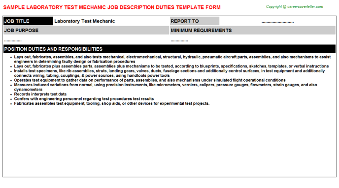 Laboratory Test Mechanic Job Description Template