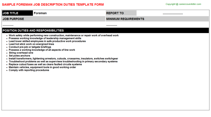 Foreman Job Description Template