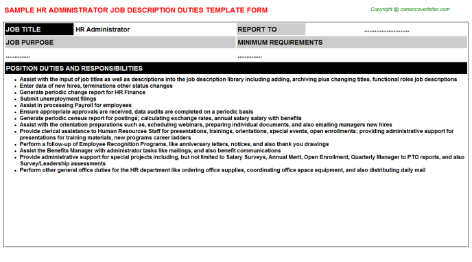 HR Administrator Job Description Template