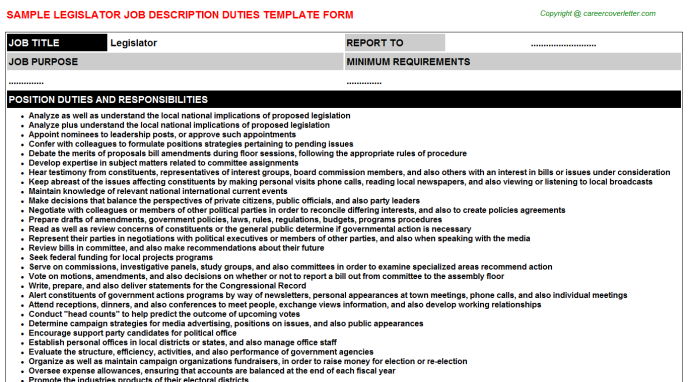Legislator Job Description Template