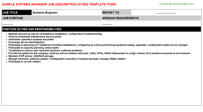 Systems Engineer Job Description Template