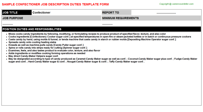Confectioner Job Description Template