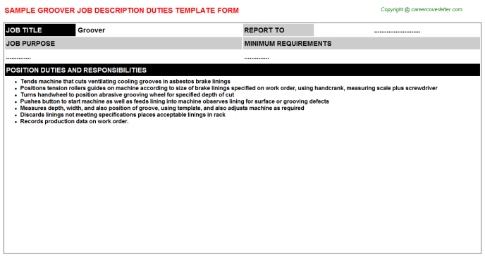 groover job description template