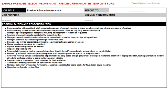 president executive assistant job description template