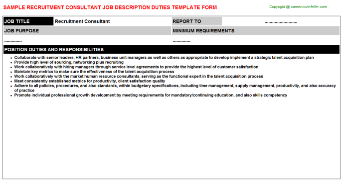 Recruitment Consultant Job Description Template