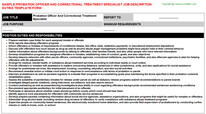 Probation officer and correctional treatment specialist career job description (#24867)