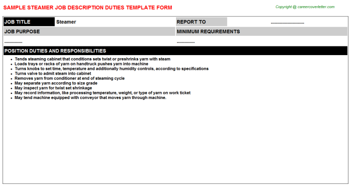 Steamer Job Description Template