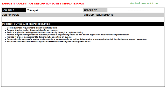 IT Analyst Job Description Template