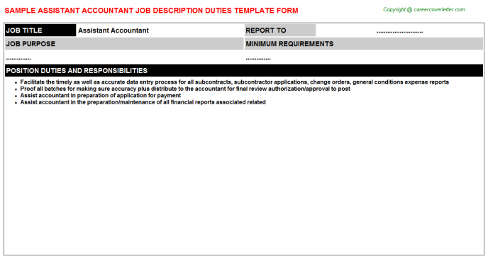 Assistant Accountant Job Description Template