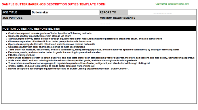 Buttermaker Job Description Template
