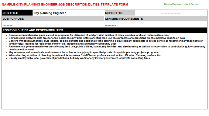 city planning engineer job description template