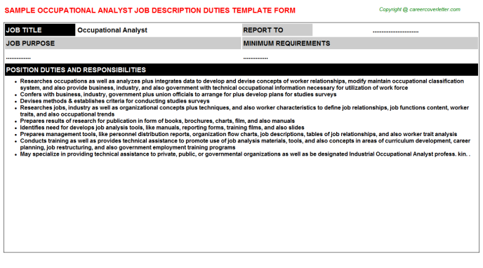 occupational analyst job description template
