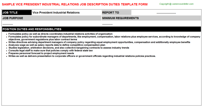 vice president industrial relations job description template