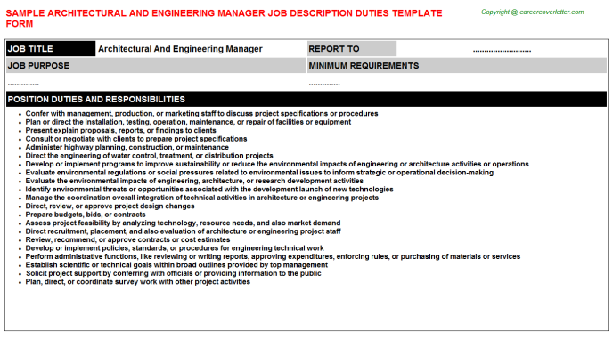 architectural and engineering manager job description template