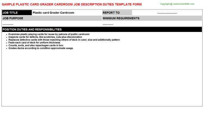 plastic card grader cardroom job description template