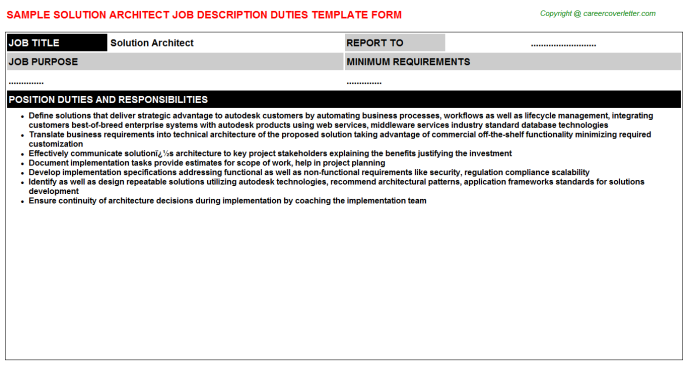 solution architect job description template