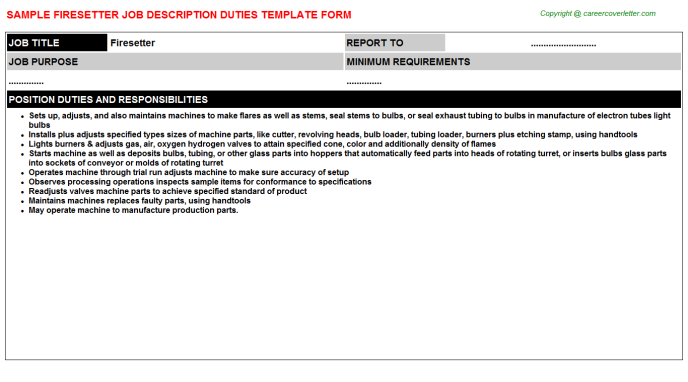 Firesetter Job Description Template