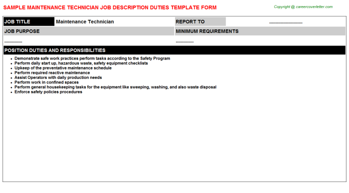 Maintenance Technician Job Description Template