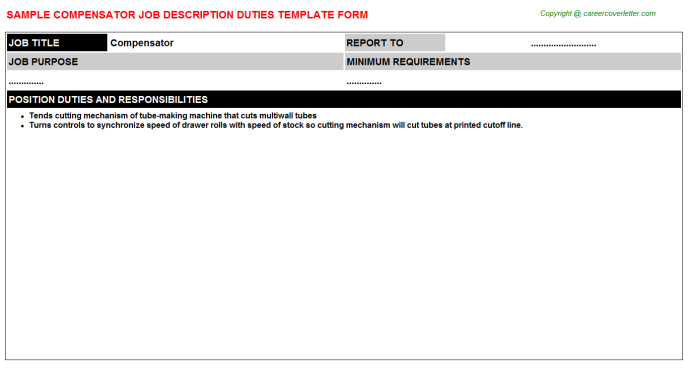 Compensator Job Description Template