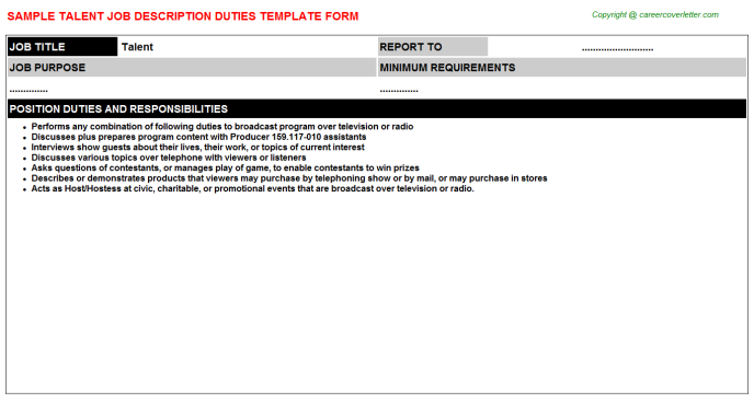 Talent Job Description Template