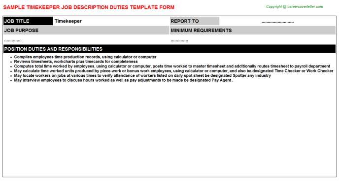 Timekeeper Job Description Template