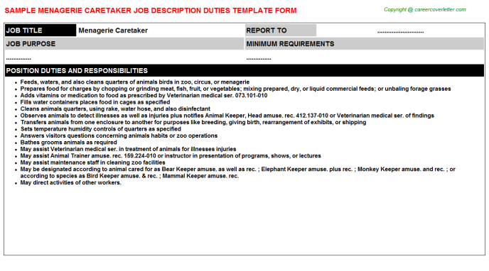 menagerie caretaker job description template