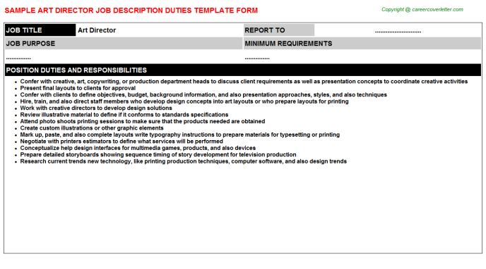 Art Director Job Description Duties Template